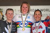 Silver medal winner Linda Villumsen of New Zealand gold medal winner Ellen van Dijk of the Netherlands and bronze medal winner Carmen Small of the...