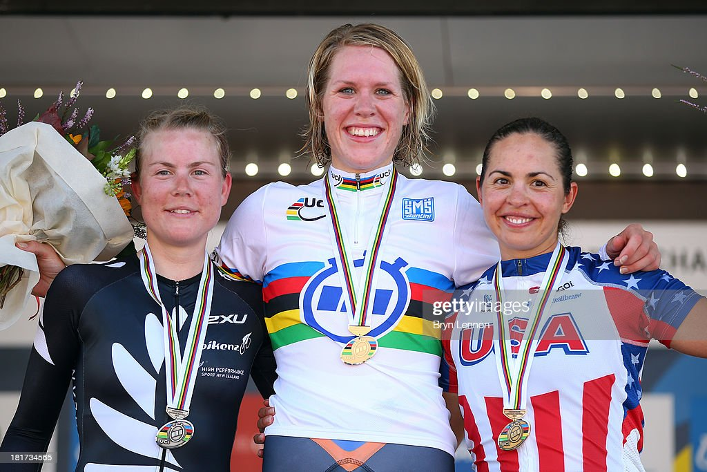 Silver medal winner <a gi-track='captionPersonalityLinkClicked' href=/galleries/search?phrase=Linda+Villumsen&family=editorial&specificpeople=2270327 ng-click='$event.stopPropagation()'>Linda Villumsen</a> of New Zealand, gold medal winner Ellen van Dijk of the Netherlands and bronze medal winner Carmen Small of the United States pose on the podium after the Elite Women's Time Trial on day three of the UCI Road World Championships on September 24, 2013 in Florence, Italy.