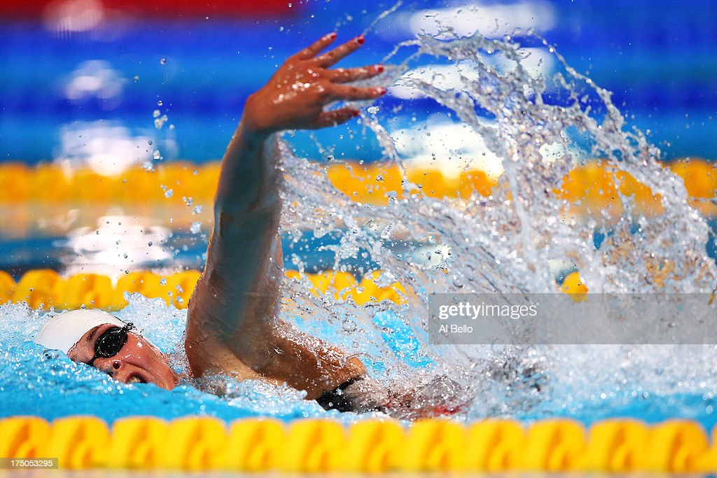 Silver medal winner Lotte Friis of Denmark competes in the Swimming Women's 1500m Freestyle Final on day eleven of the 15th FINA World Championships at Palau Sant Jordi on July 30, 2013 in Barcelona, Spain.