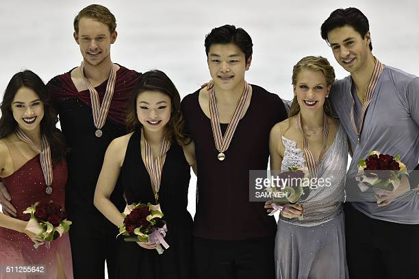 Silver medal winner Madison Chock and Evan Bates of the US gold medal winners Maia Shibutani and Alex Shibutani of the US and bronze medal winner...