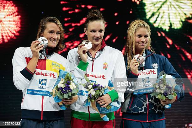 Silver medal winner Mireia Belmonte Garcia of Spain Gold medal winner Katinka Hosszu of Hungary and Bronze medal winner Elizabeth Beisel of the USA...