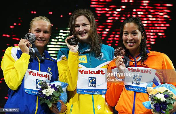 Silver medal winner Sarah Sjostrom of Sweden Gold medal winner Cate Campbell of Australia and Bronze medal winner Ranomi Kromowidjojo of the...