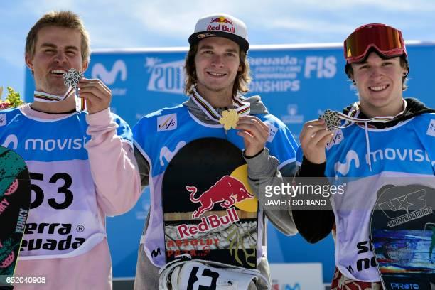 Silver medal winner Swiss snowboarder Nicolas Huber Gold medal winner Belgian snowboarder Seppe Smits and Bronze medal winner US snowboarder Chris...