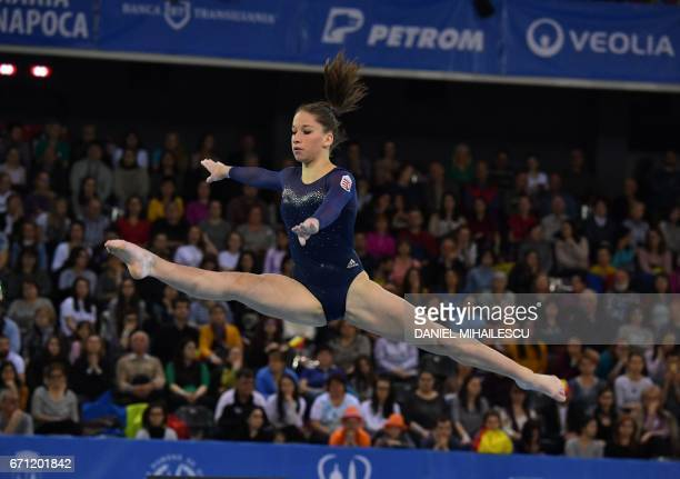 Silver medal winner Zsofia Kovacs of Hungary performs on the floor during the women allaround final for the European Artistic Gymnastics Championship...