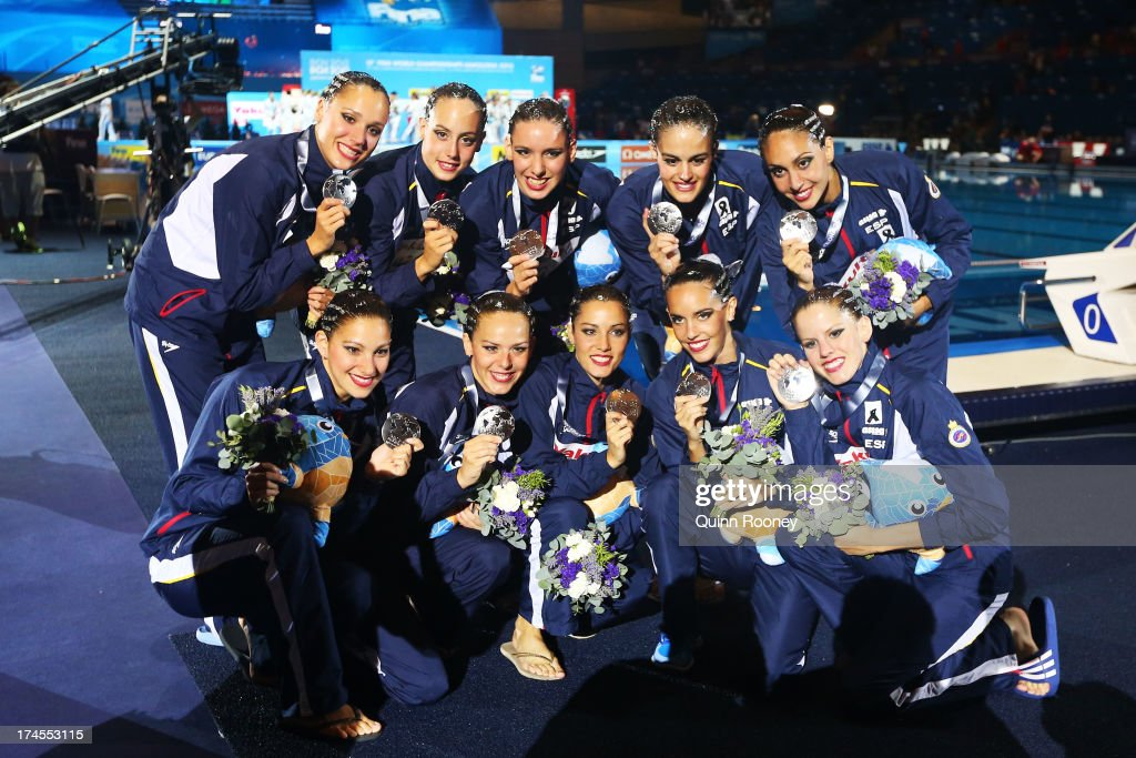 Silver medal winners Spain celebrate after during the Synchronized Swimming Free Combination Final on day eight of the 15th FINA World Championships at Palau Sant Jordi on July 27, 2013 in Barcelona, Spain.
