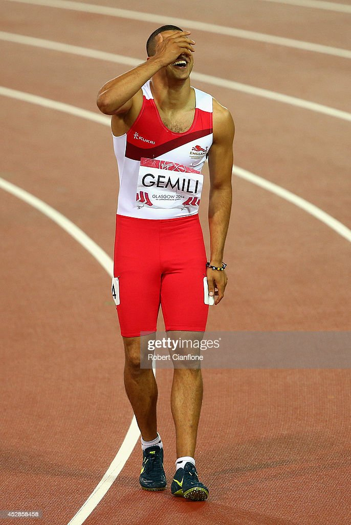 Silver medalist Adam Gemili of England reacts after the Men's 100 metres final at Hampden Park during day five of the Glasgow 2014 Commonwealth Games...