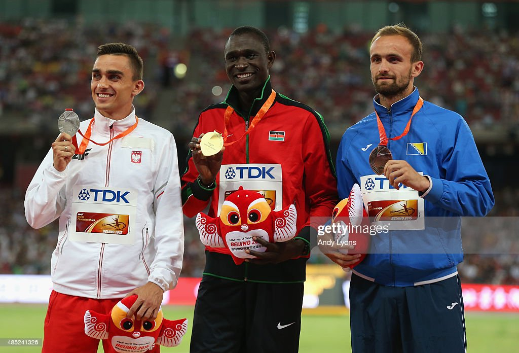 Silver medalist <a gi-track='captionPersonalityLinkClicked' href=/galleries/search?phrase=Adam+Kszczot&family=editorial&specificpeople=5746296 ng-click='$event.stopPropagation()'>Adam Kszczot</a> of Poland, gold medalist David Lekuta Rudisha of Kenya and bronze medalist <a gi-track='captionPersonalityLinkClicked' href=/galleries/search?phrase=Amel+Tuka&family=editorial&specificpeople=13488667 ng-click='$event.stopPropagation()'>Amel Tuka</a> of Bosnia and Herzegovina pose on the podium during the medal ceremony for the Men's 800 metres during day five of the 15th IAAF World Athletics Championships Beijing 2015 at Beijing National Stadium on August 26, 2015 in Beijing, China.