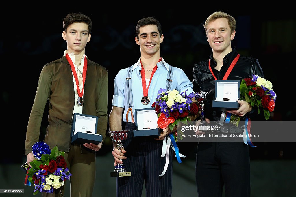 Silver medalist Adian Pitkeev of Russia, Gold medalist Javier Fernandez of Spain and Bronze medalist <a gi-track='captionPersonalityLinkClicked' href=/galleries/search?phrase=Ross+Miner&family=editorial&specificpeople=7462475 ng-click='$event.stopPropagation()'>Ross Miner</a> of the USA pose with their medals following the Men's Final on day three of the Rostelecom Cup ISU Grand Prix of Figure Skating 2015 at the Luzhniki Palace of Sports on November 22, 2015 in Moscow, Russia.