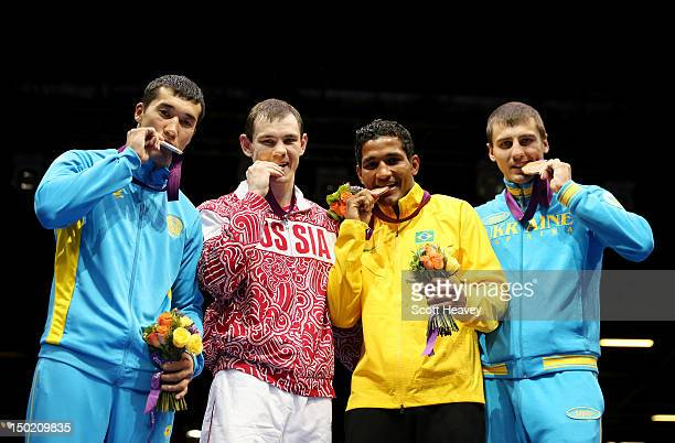 Silver medalist Adilbek Niyazymbetov of Kazakhstan gold medalist Egor Mekhontcev of Russia bronze medalist Yamaguchi Falcao Florentino of Brazil and...
