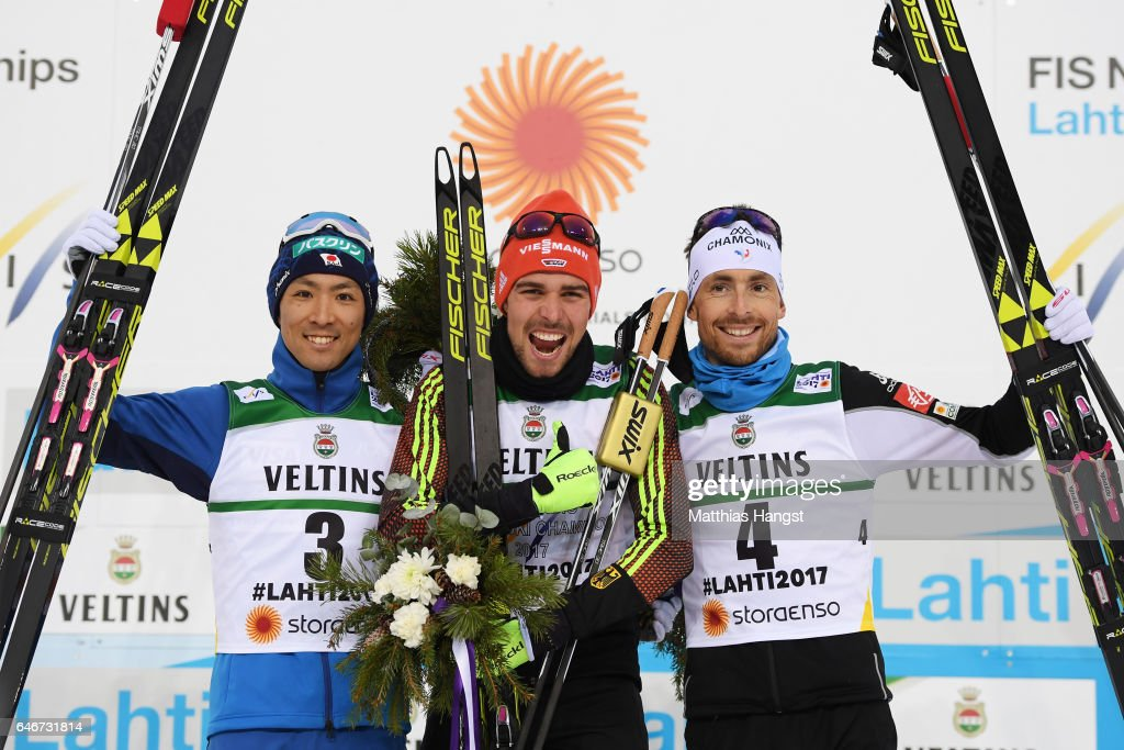 Silver medalist Akito Watabe of Japan, gold medalist Johannes Rydzek of Germany and bronze medalist Francois Braud of France celebrate following the Men's Nordic Combined 10KM Cross Country during the FIS Nordic World Ski Championships on March 1, 2017 in Lahti, Finland.