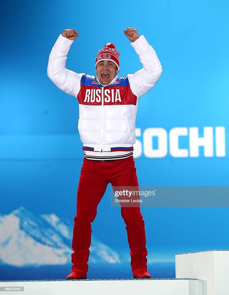 Silver medalist Albert Demchenko of Russia celebrates during the medal ceremony for the Men's Luge Singles on day 3 of the Sochi 2014 Winter Olympics at Medals Plaza in the Olympic Park on February 10, 2014 in Sochi, Russia.