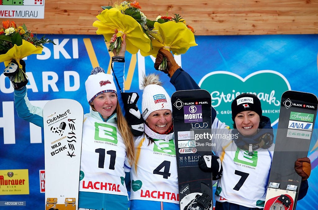 Silver medalist <a gi-track='captionPersonalityLinkClicked' href=/galleries/search?phrase=Alena+Zavarzina&family=editorial&specificpeople=6598104 ng-click='$event.stopPropagation()'>Alena Zavarzina</a> of Russia, gold medalist <a gi-track='captionPersonalityLinkClicked' href=/galleries/search?phrase=Claudia+Riegler+-+Austrian+Snowboarder+-+Born+1973&family=editorial&specificpeople=12458153 ng-click='$event.stopPropagation()'>Claudia Riegler</a> of Austria and bronze medalist <a gi-track='captionPersonalityLinkClicked' href=/galleries/search?phrase=Tomoka+Takeuchi&family=editorial&specificpeople=6719453 ng-click='$event.stopPropagation()'>Tomoka Takeuchi</a> of Japan celebrate following the Women's Parallel Giant Slalom Finals during the FIS Freestyle Ski and Snowboard World Championships 2015 on January 23, 2015 in Lachtal, Austria.