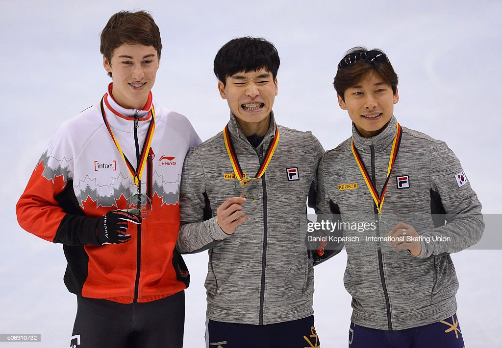 Silver medalist Alexander Fathoullin of Canada (L-R), gold medalist Yi Ra Seo of Korea and bronze medalist Yoon-Gy Kwak of Korea pose during the Men 1500 M medal ceremony during day two of the ISU World Cup Short Track Speed Skating at EnergieVerbund Arena on February 7, 2016 in Dresden, Germany.