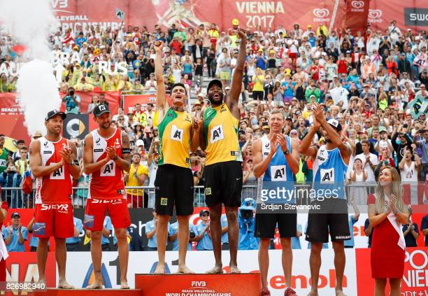 Silver Medalist Alexander Horst and Clemens Doppler of Austria Gold medalist Andre Loyola and Evandro Bronze medalist Nikita Liamin and Viacheslav...