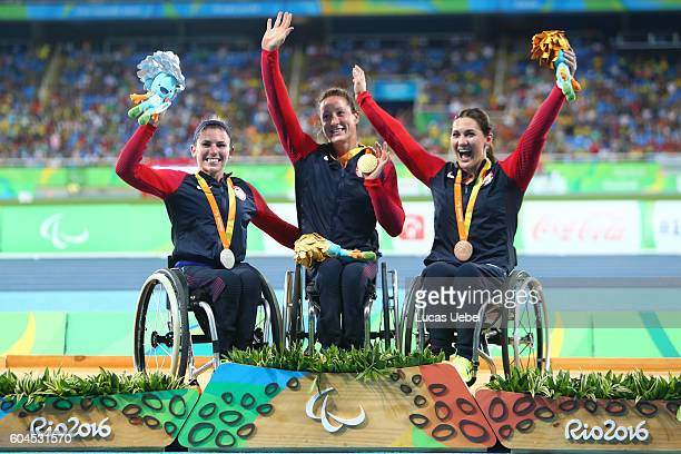 Silver medalist Amanda McGrory of United States gold medalist Tatyana McFadden of United States and bronze medalist Chelsea McClammer of United...