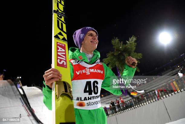 Silver medalist Andreas Wellinger of Germany celebrates celebrates after the flower ceremony for the Men's Ski Jumping HS130 at the FIS Nordic World...