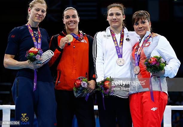 Silver medalist Anna Laurell Nash of Sweden gold medalist Nouchka Fontijn of the Netherlands and bronze medalists Sara Scheurich of Germany and Lidia...