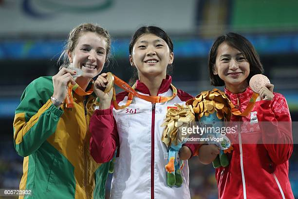 Silver medalist Anrune Liebenberg of South Africa Gold medalist Li Lu of China and Bronze medalist Sae Tsuji of Japan pose on the podium at the at...
