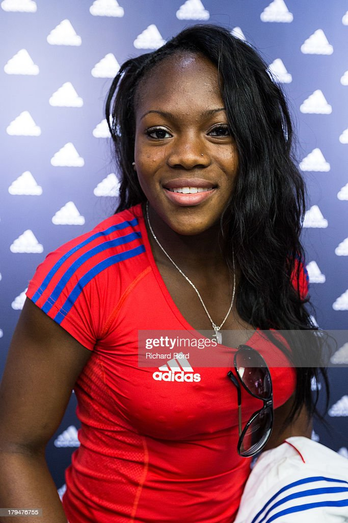 Silver medalist at the World Judo Championship in Rio de Janeiro, Clarisse Agbegnenou of France attends a signing session at Adidas Performance Store Champs-Elysees on September 4, 2013 in Paris, France.