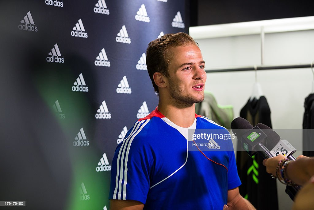 Silver medalist at the World Judo Championship in Rio de Janeiro, Ugo Legrand of France speaks to the media at Adidas Performance Store Champs-Elysees on September 4, 2013 in Paris, France.