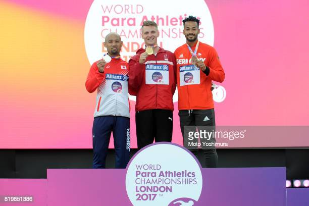Silver medalist Atsushi Yamamoto of Japan gold medalist Daniel Wagner of Denmark bronze medalist Leon Schaefer of Germany pose on the podium at the...
