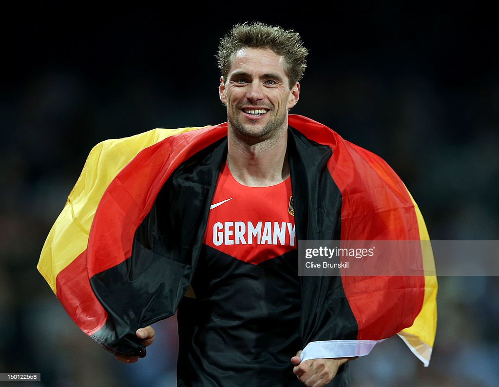 Silver medalist <a gi-track='captionPersonalityLinkClicked' href=/galleries/search?phrase=Bjorn+Otto&family=editorial&specificpeople=2543892 ng-click='$event.stopPropagation()'>Bjorn Otto</a> of Germany celebrates after the Men's Pole Vault Final on Day 14 of the London 2012 Olympic Games at Olympic Stadium on August 10, 2012 in London, England.