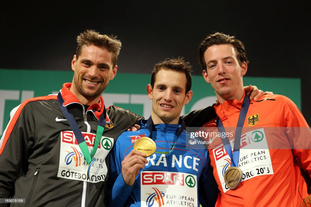 Silver medalist Bjorn Otto of Germany, Gold medalist Renaud Lavillenie of France and <a gi-track='captionPersonalityLinkClicked' href=/galleries/search?phrase=Malte+Mohr&family=editorial&specificpeople=5517776 ng-click='$event.stopPropagation()'>Malte Mohr</a> of Germany pose during the victory ceremony for the Men's Pole Vault during day three of European Indoor Athletics at Scandinavium on March 3, 2013 in Gothenburg, Sweden.