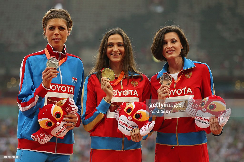Silver medalist <a gi-track='captionPersonalityLinkClicked' href=/galleries/search?phrase=Blanka+Vlasic&family=editorial&specificpeople=597861 ng-click='$event.stopPropagation()'>Blanka Vlasic</a> of Croatia, gold medalist Maria Kuchina of Russia and bronze medalist <a gi-track='captionPersonalityLinkClicked' href=/galleries/search?phrase=Anna+Chicherova&family=editorial&specificpeople=2265136 ng-click='$event.stopPropagation()'>Anna Chicherova</a> of Russia pose on the podium during the medal ceremony for the Women's High Jump final during day nine of the 15th IAAF World Athletics Championships Beijing 2015 at Beijing National Stadium on August 30, 2015 in Beijing, China.