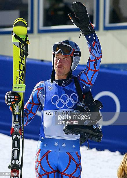US silver medalist Bode Miller waves after the men's giant slalom 2nd run for the Salt Lake 2002 Winter Olympics 21 February 2002 at Park City AFP...