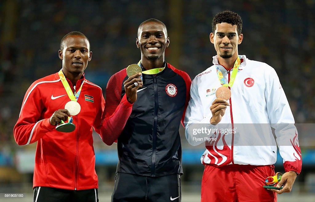 Silver medalist Boniface Mucheru Tumuti of Kenya gold medalist Kerron Clement of the United States and bronze medalist Yasmani Copello of Turkey pose...
