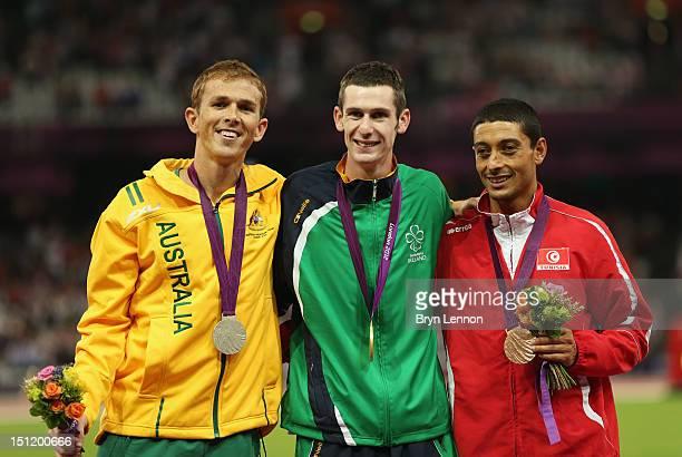 Silver medalist Brad Scott of Australia Gold medalist Michael Mckillop of Ireland and bronze medalist Mohamed Charmi of Tunisia pose on the podium...