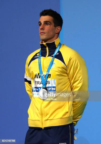 Silver medalist Bruno Fratus of Brazil poses with the medal won during the Men's 50m Freestyle final on day sixteen of the Budapest 2017 FINA World...