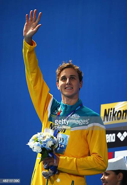 Silver medalist Cameron McEvoy of Australia poses during the medal ceremony for the Men's 100m Freestyle on day thirteen of the 16th FINA World...