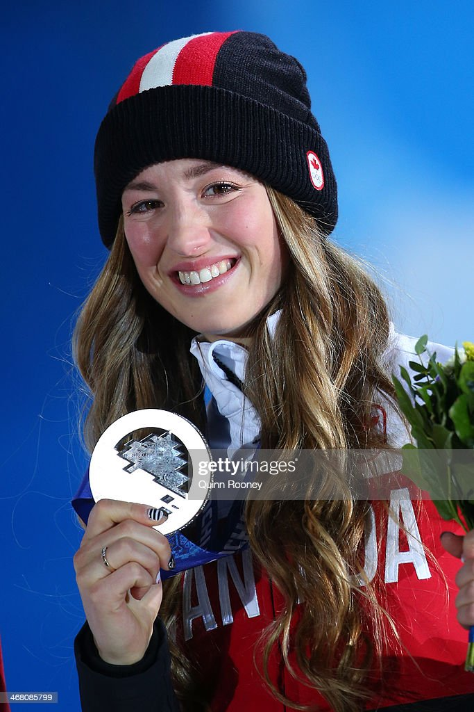 Silver medalist Chloe Dufour-Lapointe of Canada celebrates during the medal ceremony for the Ladies' Moguls Final 3 celebrates during the medal ceremony for the Ladies' Moguls Final 3 on day 2 of the Sochi 2014 Winter Olympics at Medals Plaza on February 9, 2014 in Sochi, .