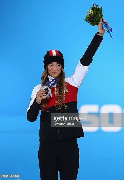 Silver medalist Chloe DufourLapointe of Canada celebrates during the medal ceremony for the Ladies' Moguls Final 3 celebrates during the medal...