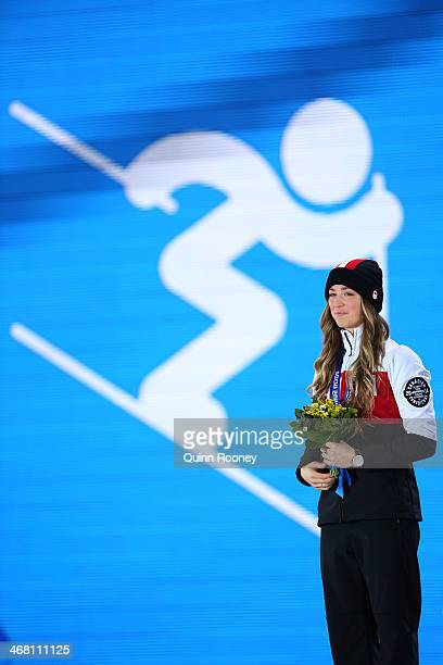 Silver medalist Chloe DufourLapointe of Canada celebrates during the medal ceremony for the Ladies' Moguls Final 3 on day 2 of the Sochi 2014 Winter...