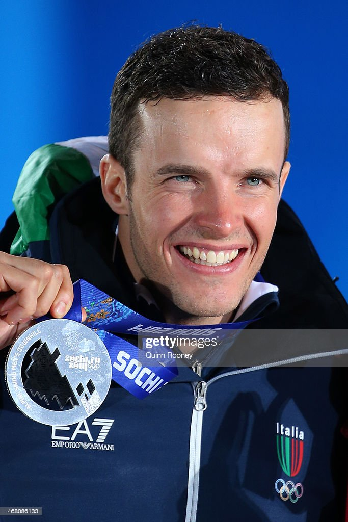 Silver medalist Christof Innerhofer of Austria celebrates during the medal ceremony for the Alpine Skiing Men's Downhill on day 2 of the Sochi 2014 Winter Olympics at Medals Plaza on February 9, 2014 in Sochi, .