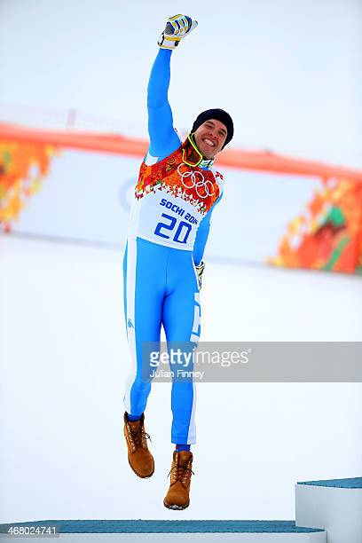 Silver medalist Christof Innerhofer of Italy celebrates during the flower ceremony for the Skiing Men's Downhill during the Alpine Skiing Men's...