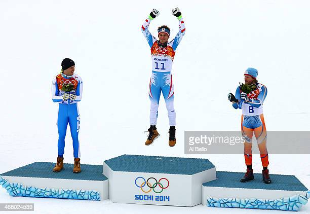 Silver medalist Christof Innerhofer of Italy gold medalist Christof Innerhofer of Austria and bronze medalist Kjetil Jansrud of Norway stand on the...