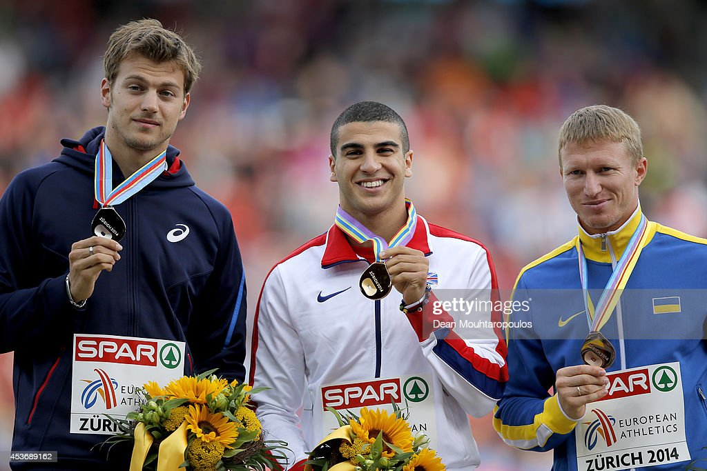 Silver medalist <a gi-track='captionPersonalityLinkClicked' href=/galleries/search?phrase=Christophe+Lemaitre+-+Sprinter&family=editorial&specificpeople=5431868 ng-click='$event.stopPropagation()'>Christophe Lemaitre</a> of France, gold medalist <a gi-track='captionPersonalityLinkClicked' href=/galleries/search?phrase=Adam+Gemili&family=editorial&specificpeople=7091483 ng-click='$event.stopPropagation()'>Adam Gemili</a> of Great Britain and Northern Ireland and Serhiy Smelyk of Ukraine celebrate on the podium during the medal ceremony for the Men's 200 metres final during day five of the 22nd European Athletics Championships at Stadium Letzigrund on August 16, 2014 in Zurich, Switzerland.