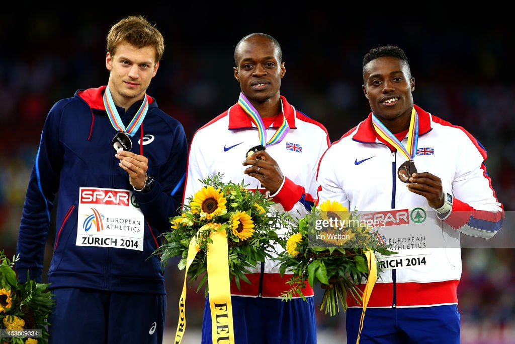 Silver medalist <a gi-track='captionPersonalityLinkClicked' href=/galleries/search?phrase=Christophe+Lemaitre+-+Sprinter&family=editorial&specificpeople=5431868 ng-click='$event.stopPropagation()'>Christophe Lemaitre</a> of France, gold medalist <a gi-track='captionPersonalityLinkClicked' href=/galleries/search?phrase=James+Dasaolu&family=editorial&specificpeople=7118567 ng-click='$event.stopPropagation()'>James Dasaolu</a> of Great Britain and Northern Ireland and bronze medalist <a gi-track='captionPersonalityLinkClicked' href=/galleries/search?phrase=Harry+Aikines-Aryeetey&family=editorial&specificpeople=247216 ng-click='$event.stopPropagation()'>Harry Aikines-Aryeetey</a> of Great Britain and Northern Ireland stand on the podium during the medal ceremony for the Men's 100 metres final during day three of the 22nd European Athletics Championships at Stadium Letzigrund on August 14, 2014 in Zurich, Switzerland.