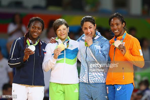 Silver medalist Clarisse Agbegnenou of France gold medalist Tina Trstenjak of Slovenia and bronze medalists Yarden Gerbi of Israel and Anicka van...