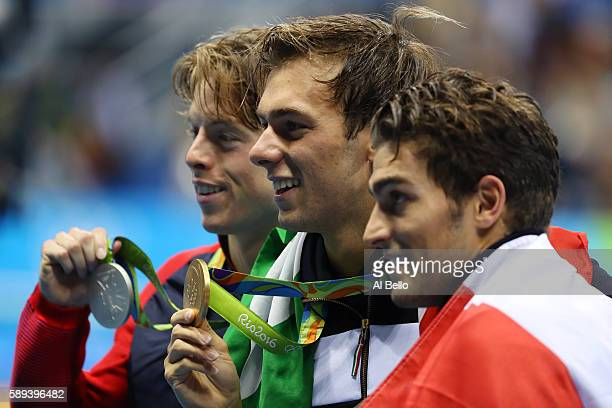 Silver medalist Connor Jaeger of the United States Gold medalist Gregorio Paltrinieri of Italy and Gabriele Detti of Italy pose during the medal...
