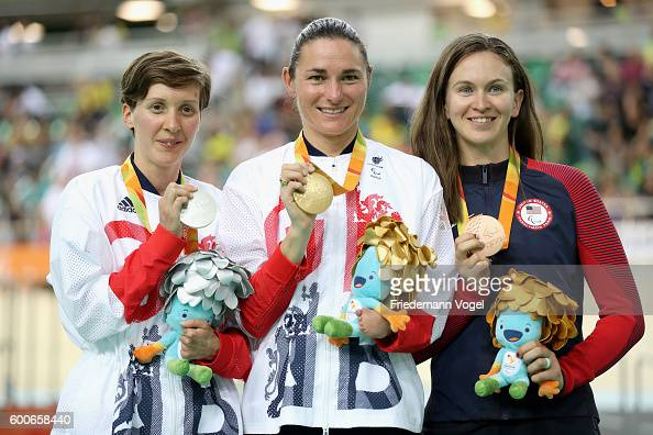 Silver medalist Crystal Lane of Great Britain gold medalist Sarah Storey of Great Britain and bronze medalist Samantha Bosco of the United States...