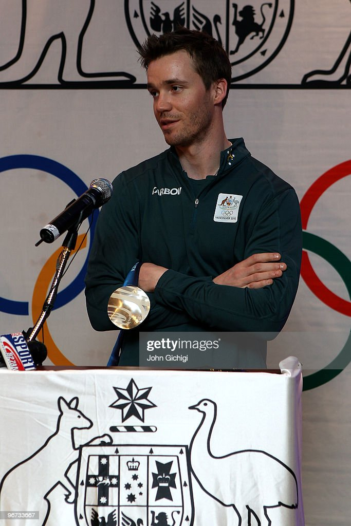 Silver medalist <a gi-track='captionPersonalityLinkClicked' href=/galleries/search?phrase=Dale+Begg-Smith&family=editorial&specificpeople=725004 ng-click='$event.stopPropagation()'>Dale Begg-Smith</a> of Australia speaks at a celebration ceremony following his performance in the men's freestyle skiing moguls on February 15, 2010 at the Sheraton Wall Center in Vancouver, Canada.