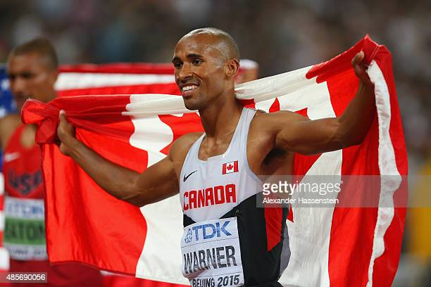 Silver medalist Damian Warner of Canada celebrates after the Men's Decathlon 1500 metres heat 2 during day eight of the 15th IAAF World Athletics...