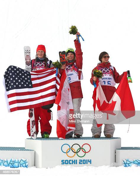 Silver medalist Devin Logan of the United States gold medalist Dara Howell of Canada and bronze Kim Lamarre of Canada celebrate on the podium during...
