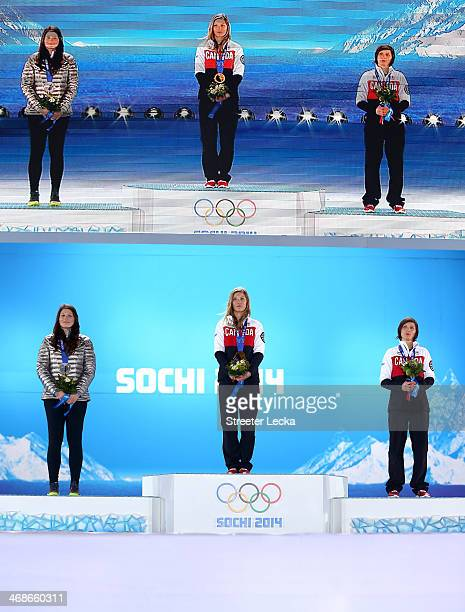 Silver medalist Devin Logan of the United States gold medalist Dara Howell of Canada and bronze medalist Kim Lamarre of Canada celebrate on the...