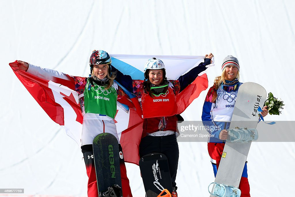 Silver medalist <a gi-track='captionPersonalityLinkClicked' href=/galleries/search?phrase=Dominique+Maltais&family=editorial&specificpeople=722237 ng-click='$event.stopPropagation()'>Dominique Maltais</a> of Canada, gold medalist Eva Samkova of the Czech Republic and bronze medalist Chloe Trespeuch of France celebrate during the flower ceremony for the Ladies' Snowboard Cross Finals on day nine of the Sochi 2014 Winter Olympics at Rosa Khutor Extreme Park on February 16, 2014 in Sochi, Russia.