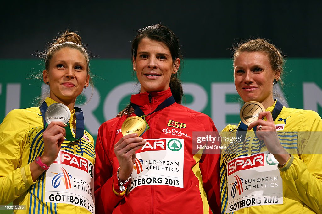 Silver medalist Ebba Jungmark of Sweden, Gold medalist Ruth Beitia of Spain and Bronze medalist Emma Green Tregaro of Sweden pose during the victory ceremony for the Women's High Jump during day three of European Indoor Athletics at Scandinavium on March 3, 2013 in Gothenburg, Sweden.